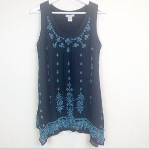 Sundance Gorgeous heavily beaded Navy Blouse S. M